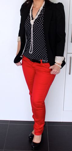 Lovin the polka dots and the red pants