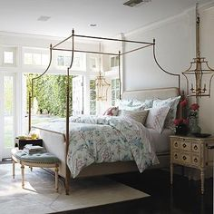 Park Lane Canopy Bed from Frontgate....hanging bedside light fixtures