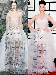High-Fashion Faceoff: Runway vs. Red Carpet   KATY IN VALENTINO HAUTE COUTURE   Same tune, different tulle. Perry adds a few layers of fabric in the bust area to make the music-themed gown a bit less sheer (though she leaves the revealing skirt as is).