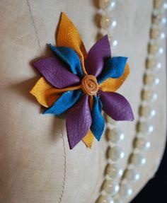 leather flower brooch tuto