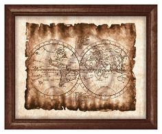 World Map Artwork Parchment. This listing is for an instant download of two JPG file of this Artwork. You will not receive any physical…