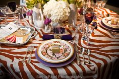 Tiger stripe table cloth - would be a bold statement for a Clemson-themed wedding.