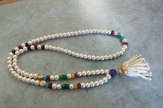 Pearl Necklace with Semiprecious Stone Beads and by IrisMDesigns, $60.00