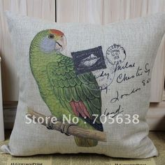 VINTAGE BIRD GREEN PARROT RED TOP LINEN CUSHION COVER SOFA PILLOW CASE 45CM*45CM on AliExpress.com. $14.99