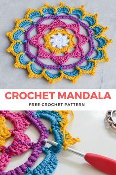 Stunning Crochet Mandala Free Pattern: Another Crochet Mandala Pattern Easy and simple to make, with beautiful edgings crochet! Enjoy it and use it as a crochet potholder, coaster, or any crochet for home craft. #crochet #mandala #crochetmandala #aboutcrochet #crochetfreepattern