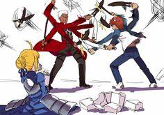 archer armor blonde_hair emiya_shirou fate/stay_night food male nanaya_(daaijianglin) orange_hair parody saber short_hair sketch sword weapon white