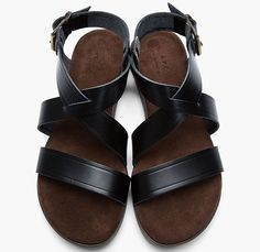 e7897bcc7ae8 Black leather and suede strap Sandals