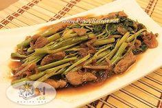 Adobong Kangkong Recipe http://www.pinoyrecipe.net/adobong-kangkong-river-spinach-recipe/