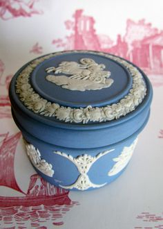 Wedgwood Jasperware Trinket Box. I bought it in London at Harrods. Just a beautiful piece and a fond memory.
