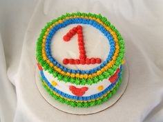 white icing with color decorations