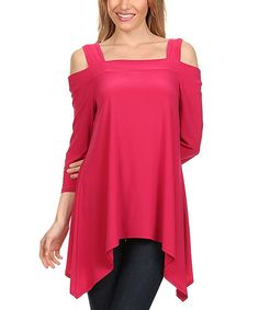 Love this Fuchsia Cutout Sidetail Top - Plus Too on #zulily! #zulilyfinds