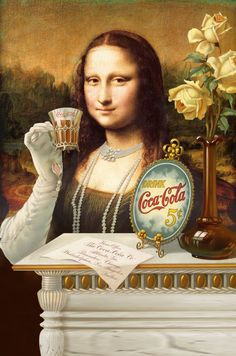 Mona for ads coca cola Lisa Gherardini, La Madone, Mona Lisa Parody, Mona Lisa Smile, Caricatures, Oeuvre D'art, Vintage Posters, Photos, Portrait