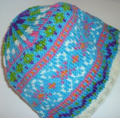 0f3612dbedf Blue and Multicolored Knit Hat in Fair Isle by Lillsknits Knitted Hats