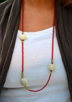 Long Beaded Red Necklace with Gold and Cream by uniquebeadingbyme #long #red #gold #necklace #beaded