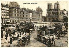 Paris en 1900 Notre Dame Pont Paris, Paris Cafe, Tour Eiffel, Old Pictures, Old Photos, Paris 1900, Victorian Life, Vintage Architecture, French History