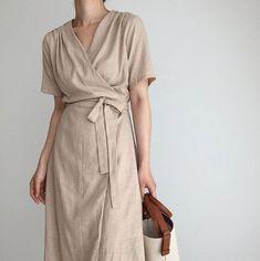 Linen summer wrap dress - Kimono linen dress - summer linen dress - romantic linen wrap dress - Linen sleeve dress - linen dress -kimono