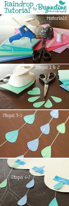 Discover thousands of images about Raindrop & Heart Garland/Backdrop Tutorial! Baby Sprinkle, Sprinkle Shower, Sprinkle Party, Shower Bebe, Baby Boy Shower, Baby Shower Gifts, Shower Party, Baby Shower Parties, Baby Shower Themes