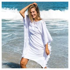 white kaftan dress in viscose and embroidered lace RANIA White Kaftan, Resort Dresses, Civil Wedding, A Perfect Day, Crepe Fabric, Art Director, Embroidered Lace, Santorini, Elegant Dresses