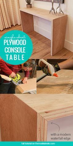 DIY ideas for the home! DIY Single Sheet Stacked Plywood Console Table With Modern Waterfall Edge Diy Deco Rangement, Homemade Sofa, Diy Waterfall, Waterfall Countertop, Plywood Projects, Easy Projects, Plywood Table, Diy Sofa Table, Modern Console Tables