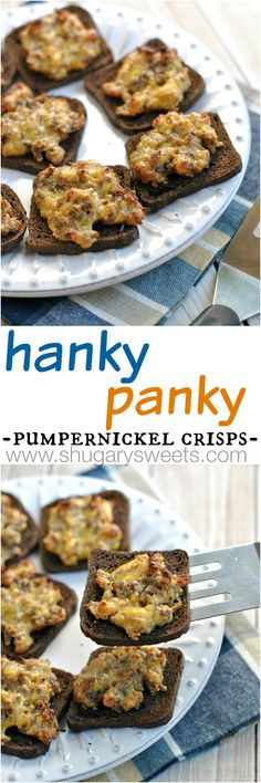 Hanky Panky's are a family favorite in our house! Spicy pork sausage with creamy velveeta baked on a slice of pumpernickel!