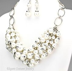 Silver Capped White Pearl Chain Necklace Set Elegant Jewelry