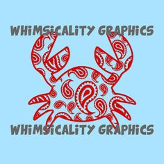 Digital File - Paisley Crab with SVG, DXF, PNG Commercial & Personal Use