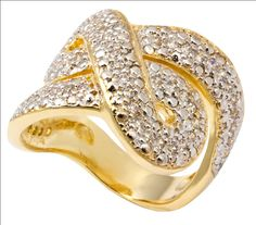 Anel Strass Cravejado Infinito Dourado  Folheado em Ouro $129.90