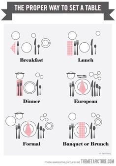 The proper way to set a table…Breakfast, lunch, dinner, European, formal, banquet or brunch.