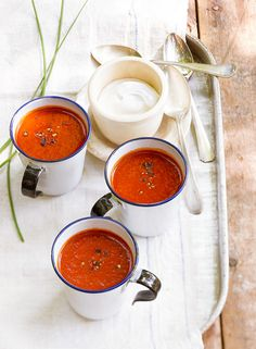 Wood chips are the secret to the smoky taste of this twist on classic tomato soup. #tomatosoup #soup