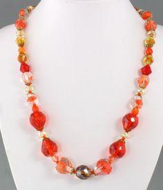 Vintage 60's Long Orange Crystal Glass & Art Glass Graduated Bead Necklace #Necklace