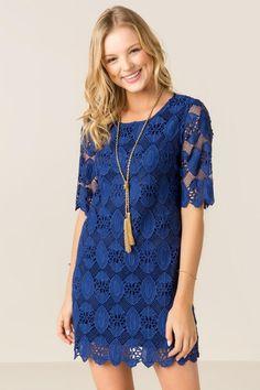 Lydia Solid Crochet Shift Dress