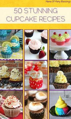 cupcake recipes A list of 50 different types cupcakes recipe ideas from around the web. Including Paleo, gluten free, flour and egg free, and more! Mojito Cupcakes, Gourmet Cupcakes, Cupcake Flavors, Baking Cupcakes, Yummy Cupcakes, Cupcake Cakes, Unique Cupcake Recipes, Cupcake Recipes From Scratch, Fancy Cupcakes