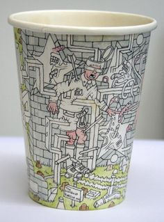 pen and ink illustrations on used paper coffee cups by Paul Westcombe
