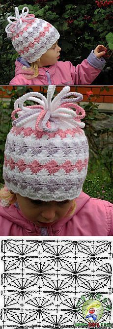 Really nice crochet cap with schema. You can do it by the view of schema. It will keep warm head at the cold winter days.