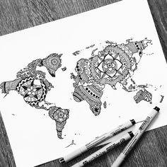 Mandala, Watercolor, Map, Cards, Drawings, Watercolor Painting, Maps, Maps, Mandalas