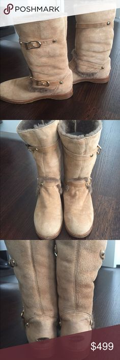 Jimmy Choo calfskin fur motorcycle boots Beautiful only worn once or twice Jimmy Choo Shoes Winter & Rain Boots