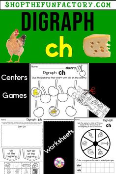 Ch digraphs, kindergarten, first grade, activities for teaching Algebra Activities, First Grade Activities, Teaching Activities, Teaching Ideas, The Fun Factory, Teacher Blogs, Teacher Stuff, Thing 1, Elementary Education