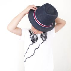 Very funky denim fedora with red, blue and white trim.     52cm circumference..