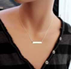Bar Initial necklace, SILVER Hammered bar Necklace, Rectangle Monogram charm necklace, bar jewelry, Modern Necklace, bridesmaid's gifts on Etsy, $28.00