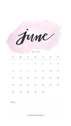 June 2016 calendar lockscreen. Iphone lockscreen.