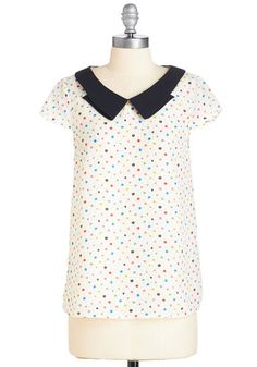 Petite Posies Top - Mid-length, Woven, White, Multi, Polka Dots, Peter Pan Collar, Work, Casual, Cap Sleeves