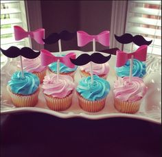 Gender Reveal cupcakes- with a colorful cream on the inside.