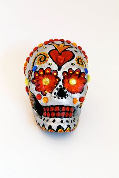 Day of the Dead Silver Sugar Skull Hand painted paper mache Skeleton / Dia de los Muertos/ SIlver red yellow white