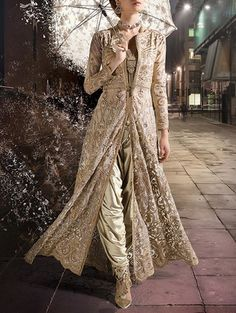 Buy 1 Stop Fashion beige silk embroidered salwar Suit online in India at best price.beige Shimmer semi-stitched dress material Color : beige Touch And Feel : Little rough Work/print/ Value Ethnic Fashion, Indian Fashion, Anarkali Bridal, Indian Wear, Indian Style, Indian Ethnic, Choice Fashion, Gold Pants, Lengha Choli