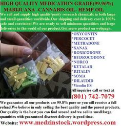 My Webpage: www.medzinstock.wordpress.com  This list of product are not full listed for some reason just go to our webpage for list of Available products,or contact us directly at (801) 742-7079(M DM A)(Xanax)(Vicodin)(Percocet)(Ketamine)(Ativan)(Kloropin)(Restoril)(Ambien) (Lunesta)(Adderall)(oxycontin)(Morphine)(Methadone)(Roxicondone)(Codeine)(Ritalin)(Promethazine)(Co ugh)(Syrup)(Valium)list  of 420 (Sinal oa Kush),(Stra wberry Kush),(O G Kush),(Soul Diesel) (Xanax) (Vicodin) (Percocet)…