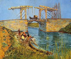 "$158, 20""x24"", The Langlois Bridge at Arles with Women Washing 1    Artist: Van Gogh"