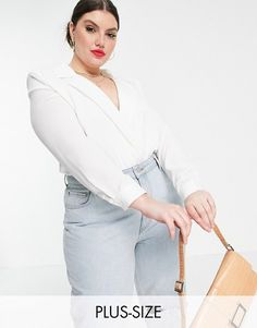 In The Style Plus x naomi genes satin wrap front bodysuit in white. #inthestyleplus #plussize #plussizefashion Plus Size Womens Clothing, Plus Size Outfits, Plus Size Fashion, Clothes For Women, Plus Size Bodies, Curvy Plus Size, Asos, Strings, Silhouette