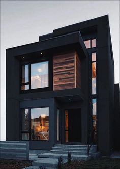 Everything is completely black! That& the atmosphere today when we fall asleep in these beautiful houses with black exteriors. Are you going to live in a black house? Modern Exterior House Designs, Black House Exterior, Modern Architecture House, Modern House Design, Exterior Design, Modern Buildings, Black Architecture, House Exteriors, Exterior House Colors
