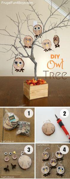 Easy to make cute DIY Owl Tree for fall decor @istandarddesign
