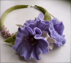 Felt necklace with flowers felt flowers  felt necklace by jurooma